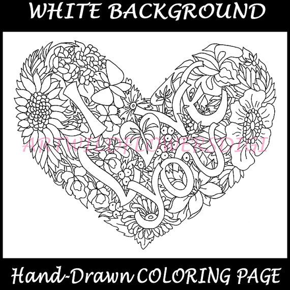 Valentines Day I Love You Coloring Sheets Digital Heart Color Page Wildflower Hearts Instant Do Love Coloring Pages Coloring Pages Valentine Coloring Pages