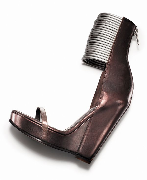 spring 2012 RICK OWENS Bronze metallic leather platform wedge sandal with silver cord detail, 4.75″ heel with platform, in sizes 5.5–11.Available in black online. Italy. Second Floor.212 872 8947
