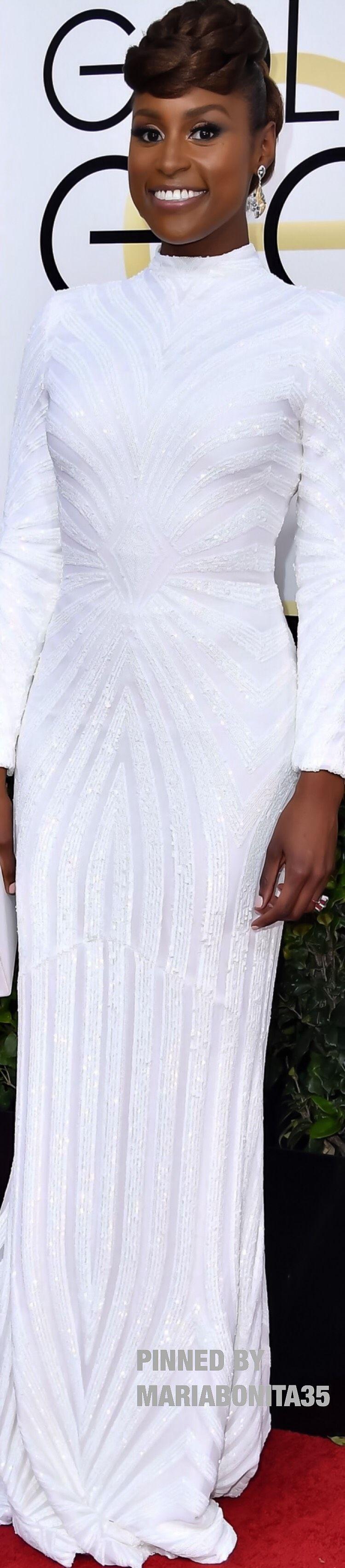 2017 Golden Globe Awards Red Carpet Arrivals Issa Rae wearing Christian Siriano