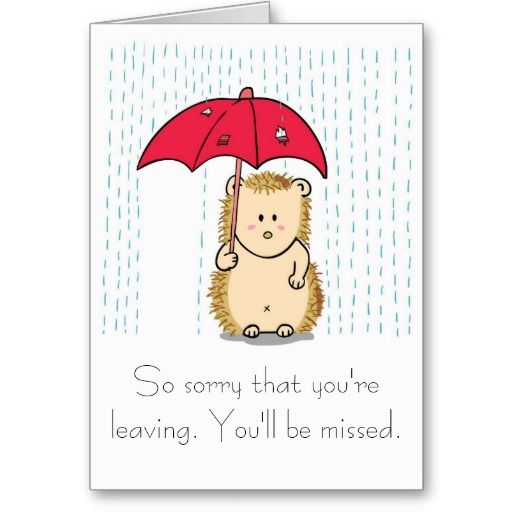 Cute Hedgehog Cartoon Farewell Card Zazzle Co Uk Farewell Cards Leaving Cards Goodbye Cards