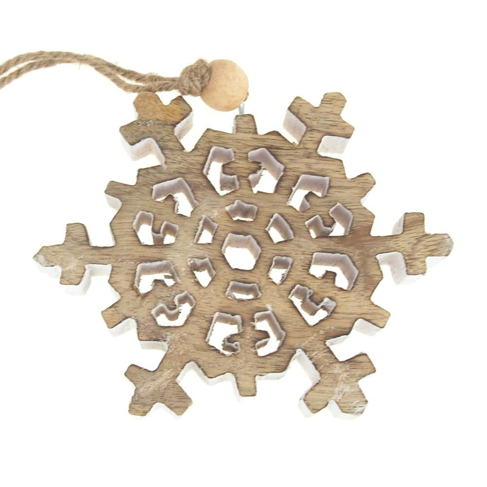 Dendrite snowflake wooden christmas ornament naturalwhite