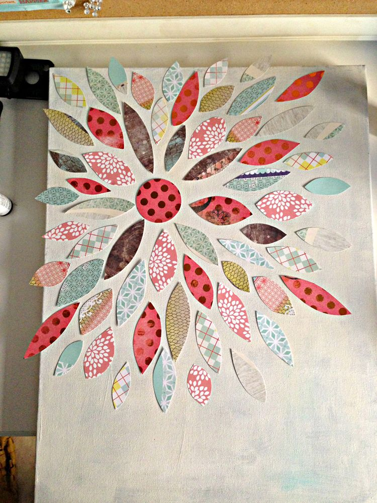 Summer Crafting Day 12 Paper Flower Canvas Art Flower