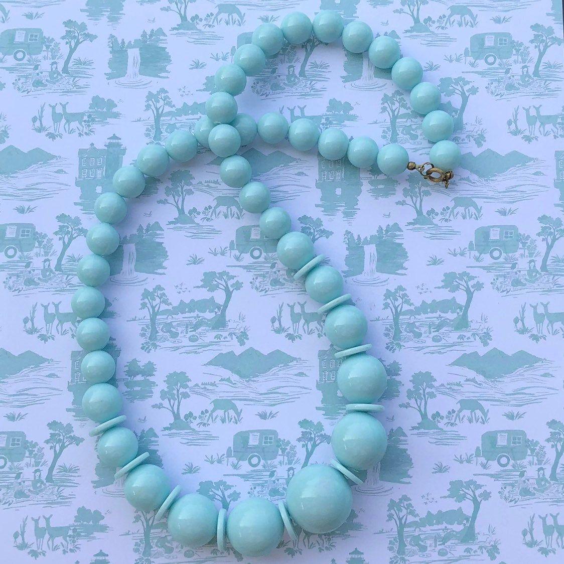 Vintage Beads Necklace Plastic Round Blue Beads Retro Etsy Kralen Kettingen Blauwe Ketting Plastic Sieraden