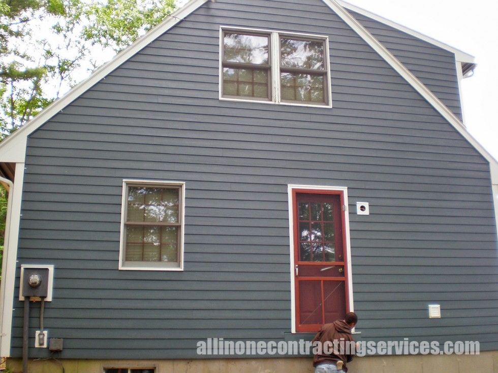 Hardie Board Blue Siding Farmhouse Renovation House Exterior