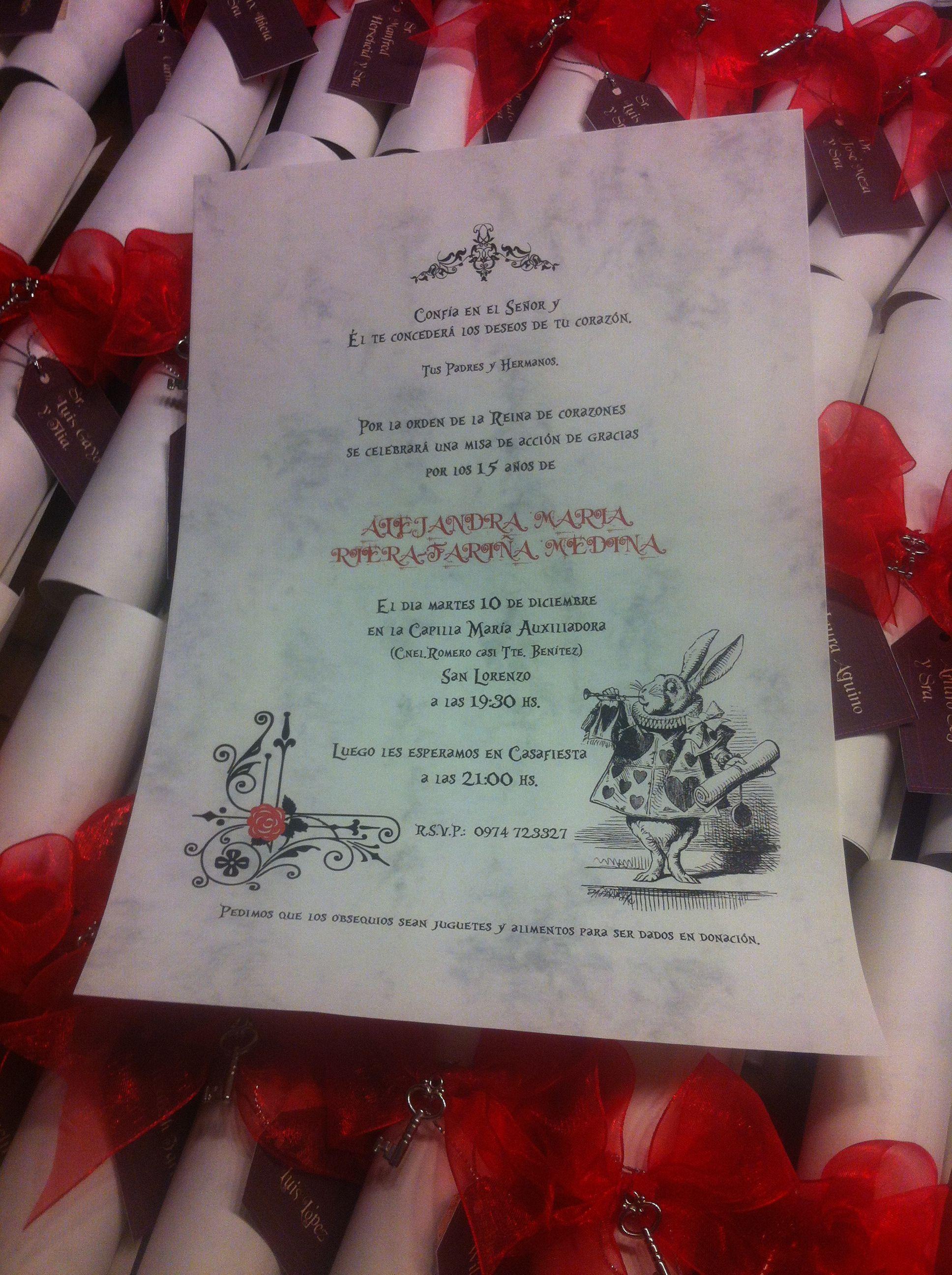Invitaci n pergamino para un cumplea os tem tico de alicia for Decoracion xv anos alicia pais maravillas