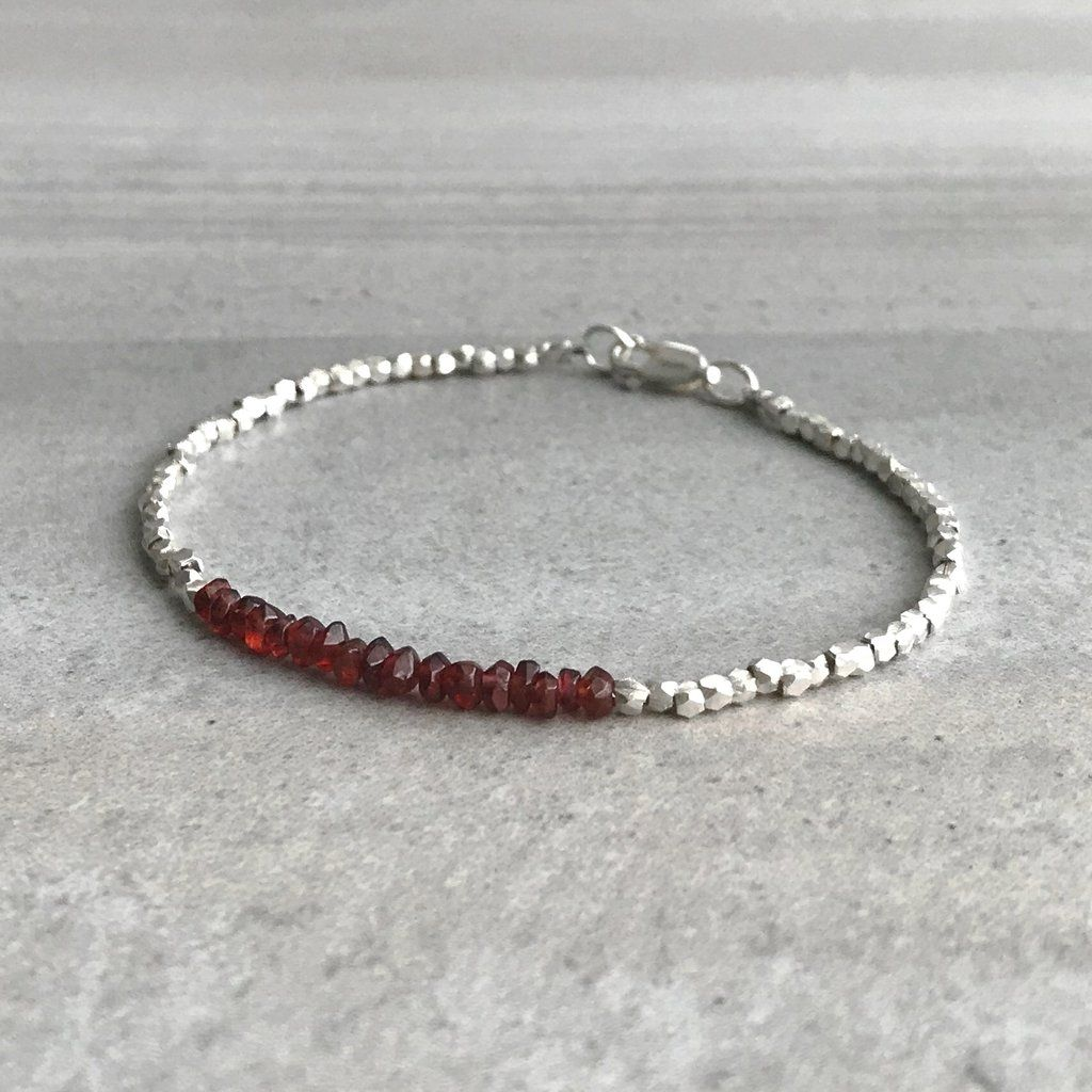 Red Garnet Bead Bracelet Genuine Crystal Jewelry Sterling Hill Tribe Silver January Birthstone Gift