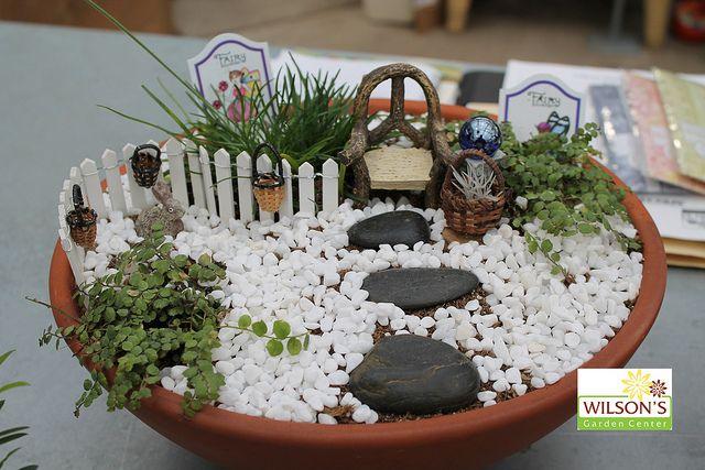diferentes recipientes para mini jardines Fairies garden