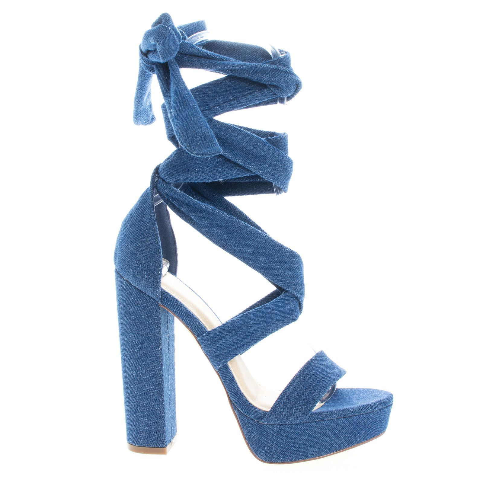 7e5a15968efe This platform sandal features a thick wrap around crisscrossing lace with 5.5  inch chunky block heel and a 1 inch platform. (Please note that these ...
