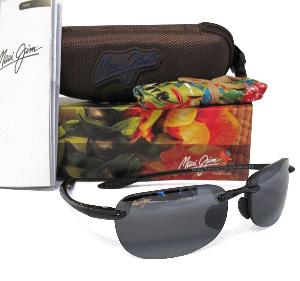 33644441ebe1f New Maui Jim SANDY BEACH Gloss Black   Neutral Grey Polarized Sunglasses 408 -02