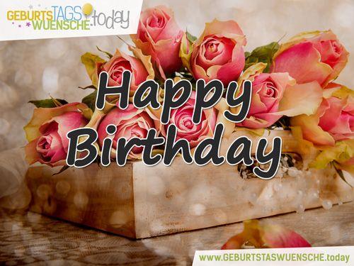 happy birthday geburtstagsgr e mit rosa rosen geburtstagsgr e gl ckw nsche zum. Black Bedroom Furniture Sets. Home Design Ideas