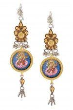 Tribebyamrapali-Silver Floral Saraswati Earrings