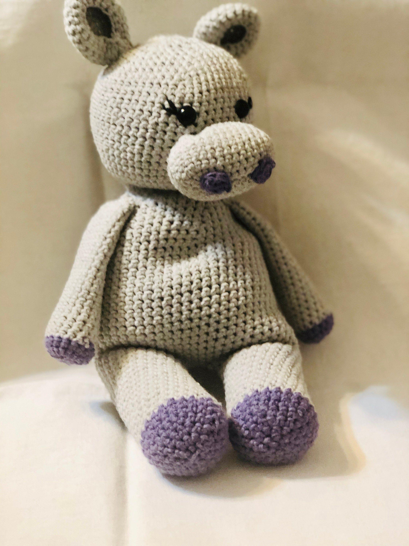 Baby Hippo Amigurumi, stuffed animal, plush Hippo, Valentines day gift, #babyhippo