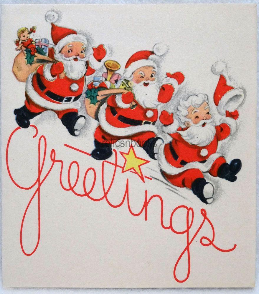 #772 40s Santa in Triplicate! Vintage Christmas Card-Greeting