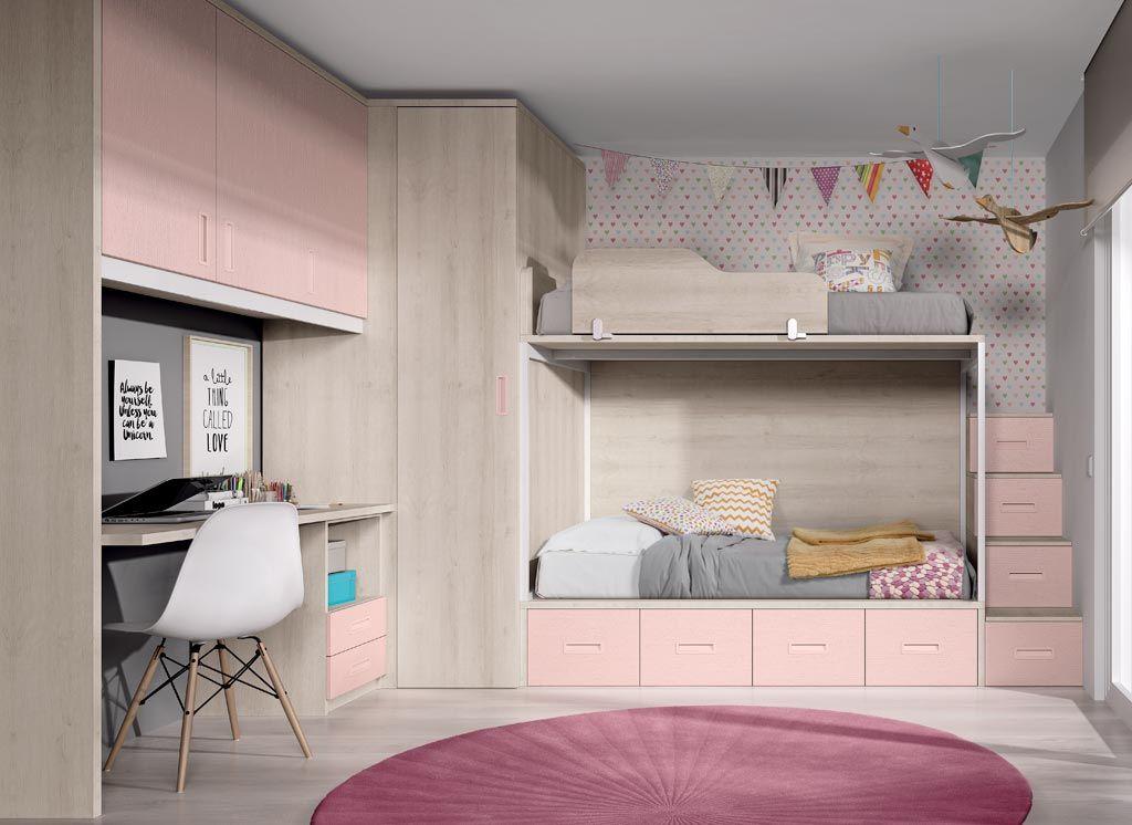 Dormitorio juvenil en color roble y nube con un armario rinc n vestidor indiana Colores para habitaciones juveniles femeninas