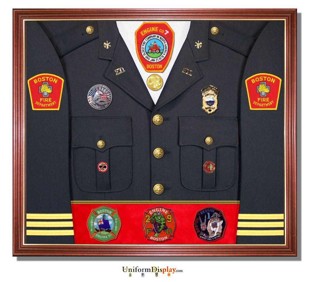 Firefighter uniform display case firefighter decor