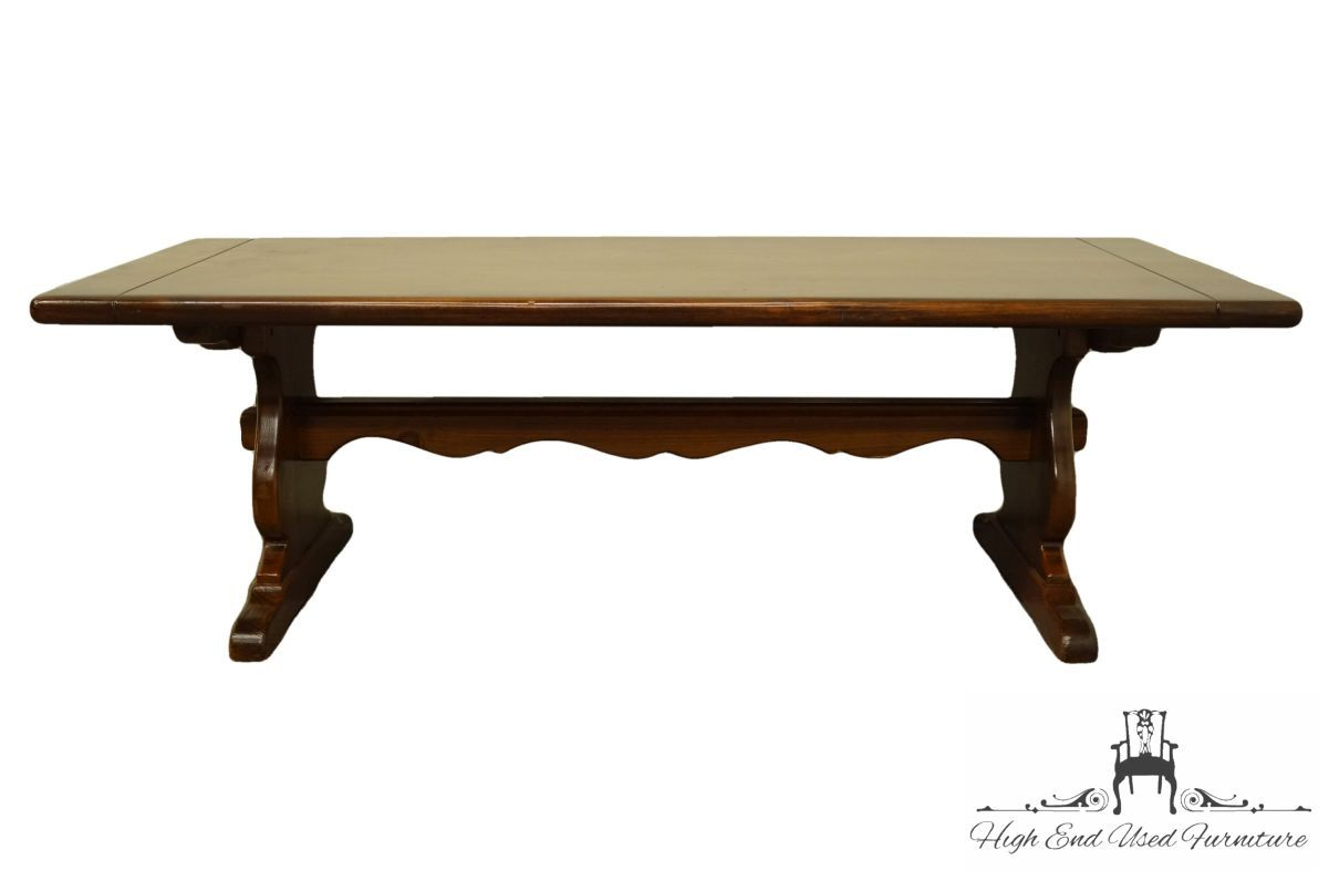 Ethan Allen Antiqued Pine Old Tavern 54 Trestle Accent Coffee