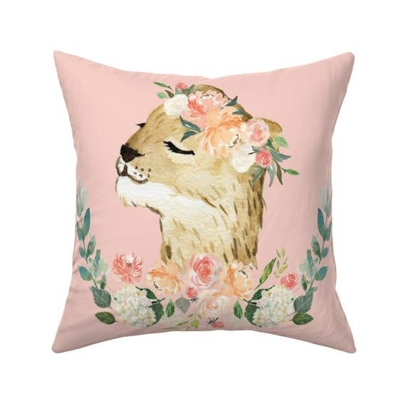 LION FLOWER fabric panel, girl cute baby LION animal pillow fabric, girl safari bedding fabric, lion