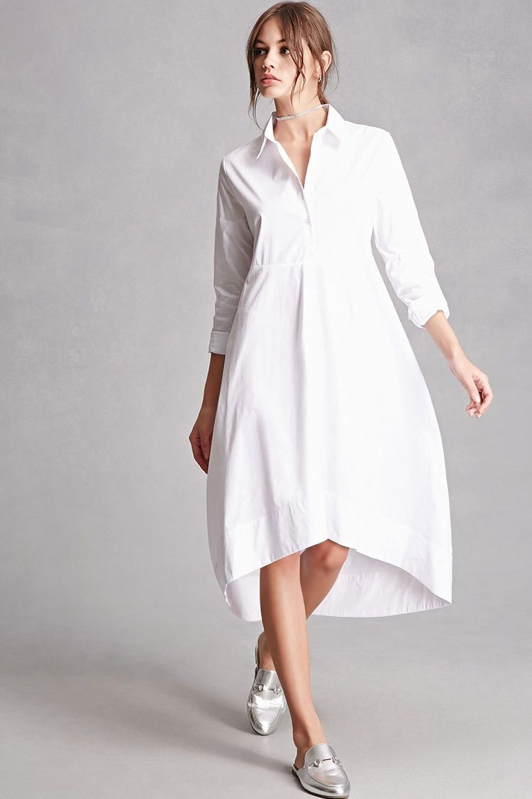 A woven oversized shirt dress featuring a buttoned front closure, on-seam side pockets, a basic collar, waist seam construction, long sleeves with buttoned cuffs, and a crescent hem. This is an independent brand and not a Forever 21 branded item.