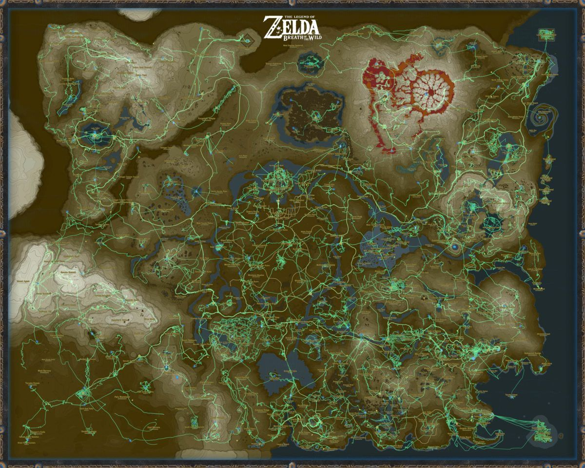 Despite It Looking Like An Artist Trying To Be Creative With A Highlighter The Hero S Path Mode In Breath Of The W Zelda Botw Zelda Map Zelda Breath Of Wild