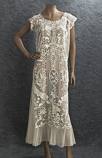 1920s lace dress. Embroidered mixed lace tea dress- c.1922. The ...