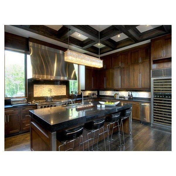 kitchens - chocolate brown cabinets black granite ... on Black Granite Countertops With Brown Cabinets  id=41882