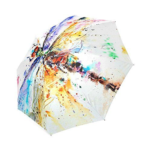 Open/Close Colorful Watercolor Dragonfly Art Oil Splash Painting Compact Umbrella Folding Travel Rain/Sun Umbrella Dragonfly Foldable Umbrella
