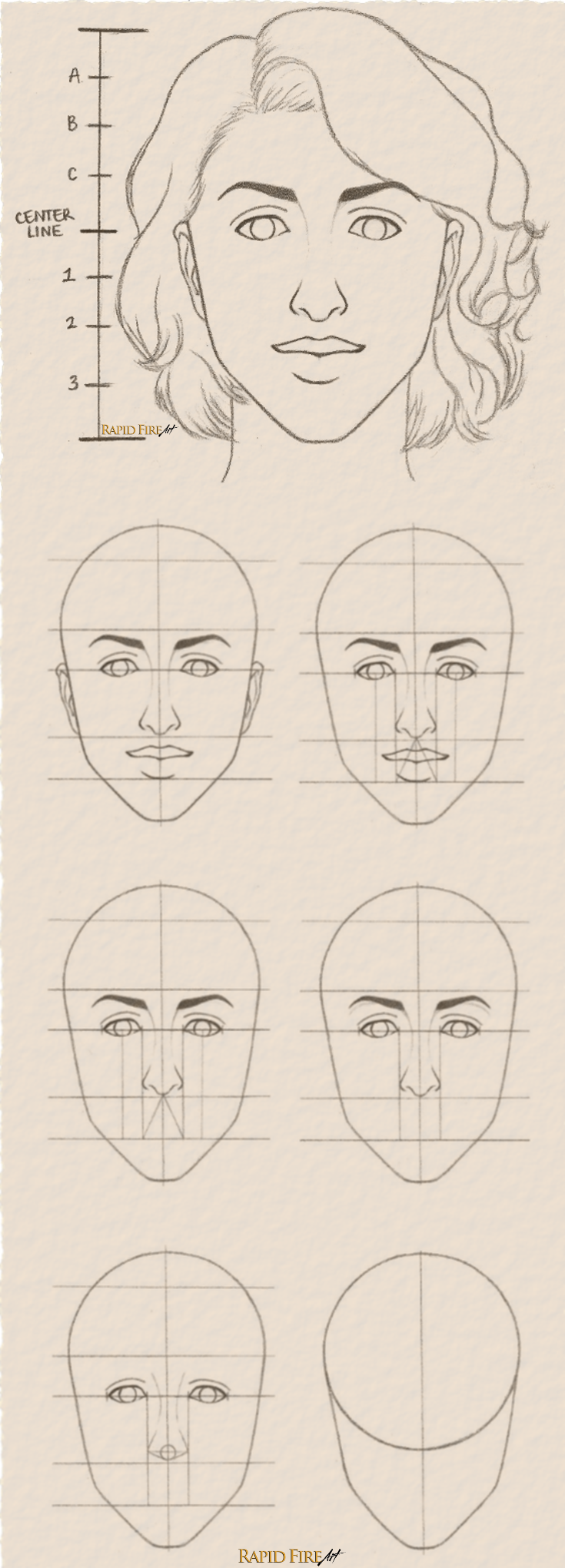 How to draw a female face in 8 steps