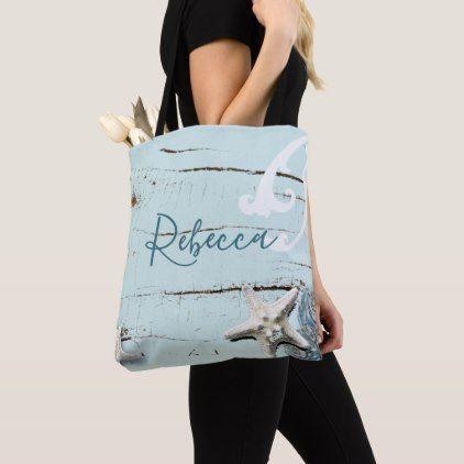 76fdd128d2f88 aqua blue seashell starfish beach bridesmaid tote bag - wedding bag  marriage design idea custom unique