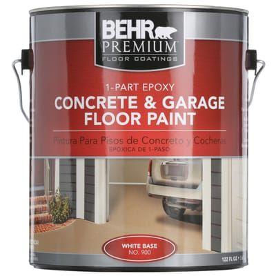 Behr Premium 1 Gal White 1 Part Epoxy Concrete And Garage Floor Paint 90001 The Home Depot Garage Floor Paint Painted Floors Garage Floor