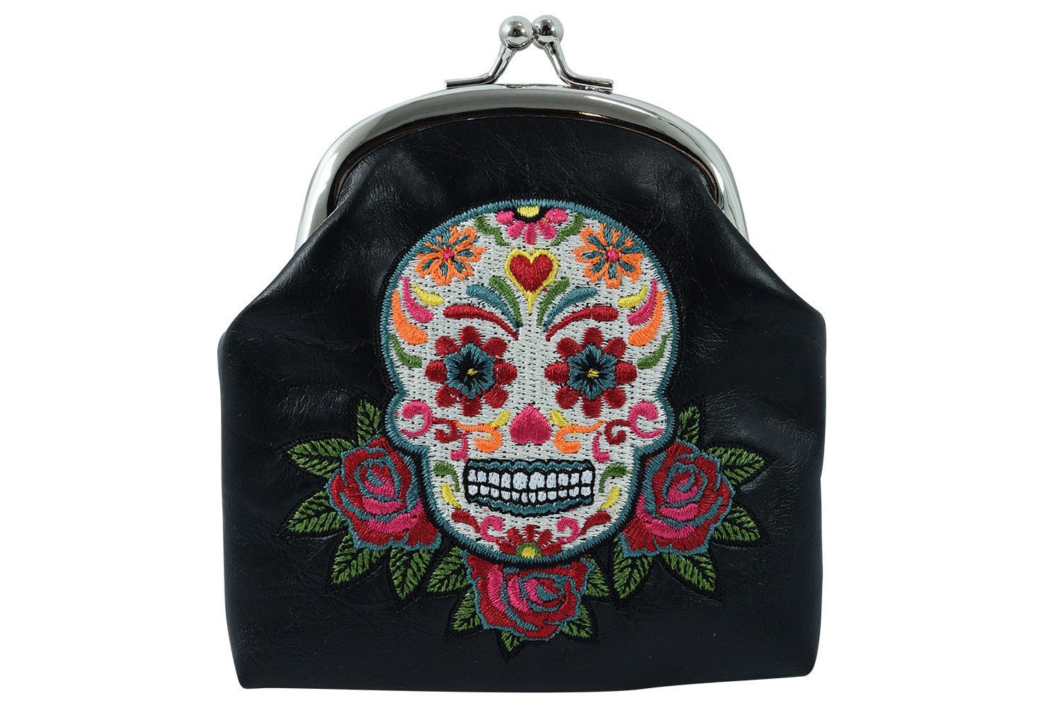 08d4b26d2fc5 Day of the Dead Rose & Sugar Skull Embroidered Coin Purse ...