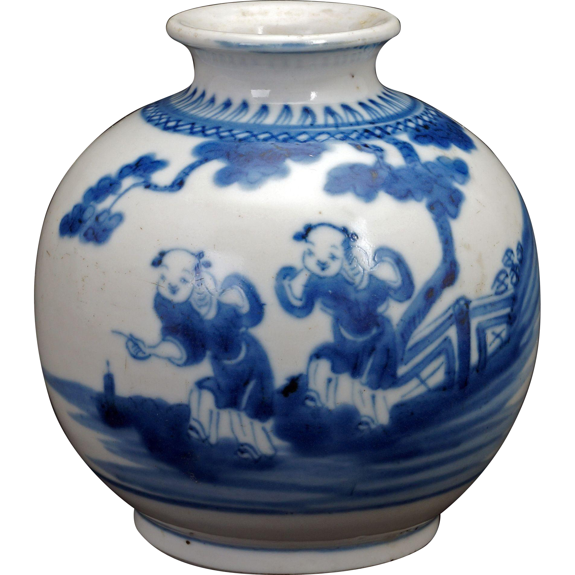 Chinese blue and white porcelain small round vase with children chinese blue and white porcelain small round vase with children 19th century reviewsmspy