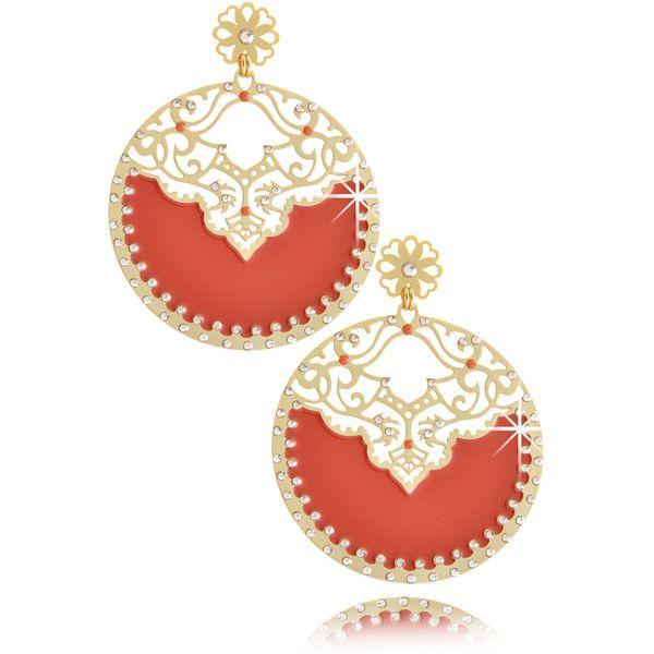 LK DESIGNS Arabian Moon Orange Enamel Earrings found on Polyvore