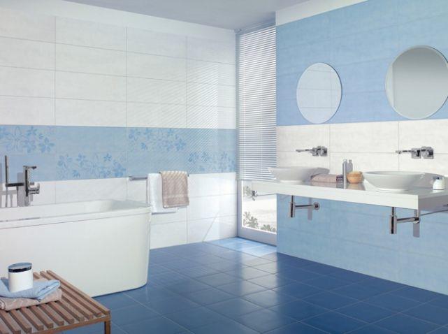 salle de bain blanche et bleu On salle de bain blanche et bleu