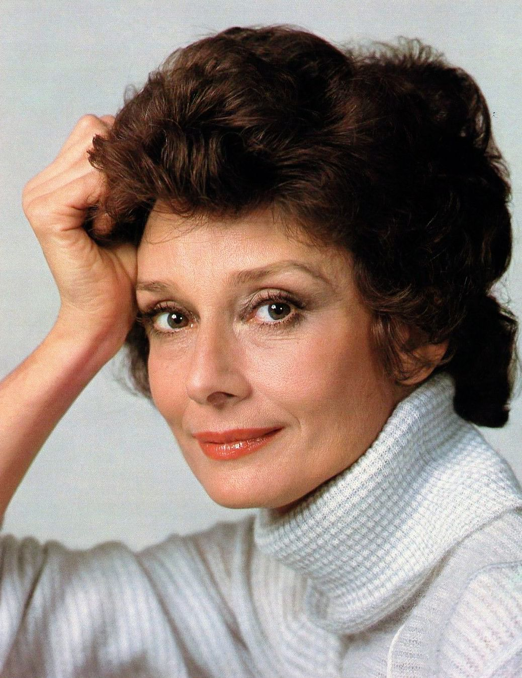 Audrey Hepburn photographed by Sergio Strizzi for the film Bloodline, Paris, February 1979.