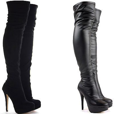 New Ladies Womens Over The Knee Boots Thigh High Fold Cuff Block Heel Shoes Size