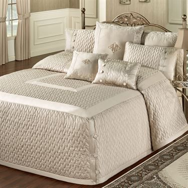 Silk Allure Fawn Tailored Oversized Quilted Bedspread Bedding Bed Spreads Luxury Bedding Bed Decor