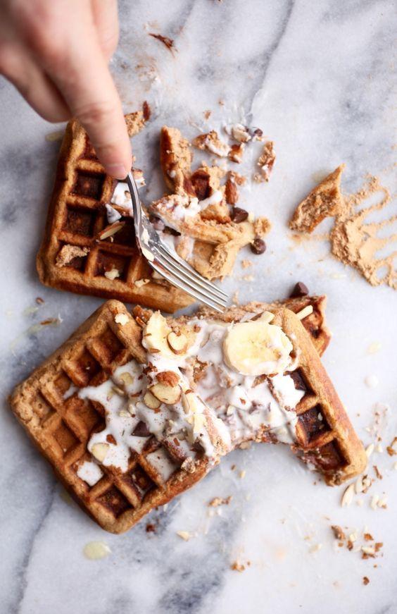 Maca Almond Banana Chocolate Chip Waffles | Grain & Dairy Free via Nutritionist in the Kitch