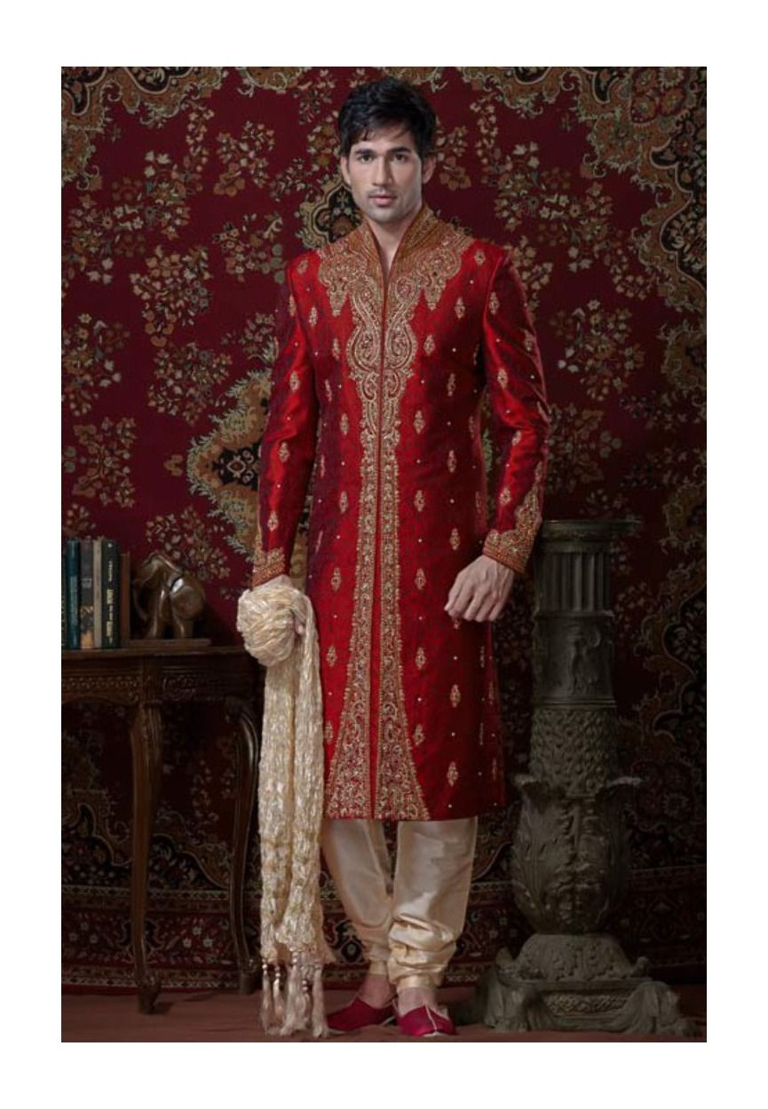 Red brocade readymade sherwani mcd fashion fashion