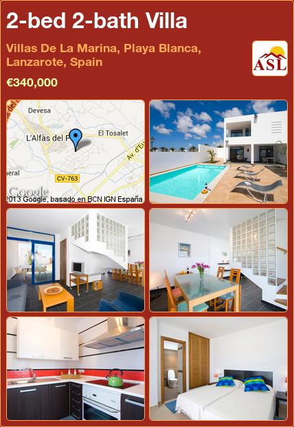 2-bed 2-bath Villa in Villas De La Marina, Playa Blanca, Lanzarote, Spain ►€340,000 #PropertyForSaleInSpain