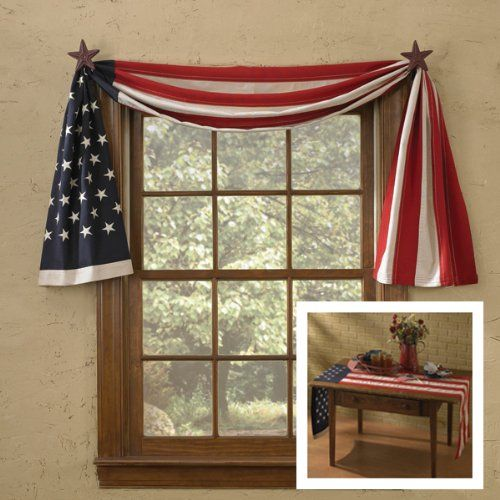 Amazon Com American Flag Window Curtain Swag Table Runner