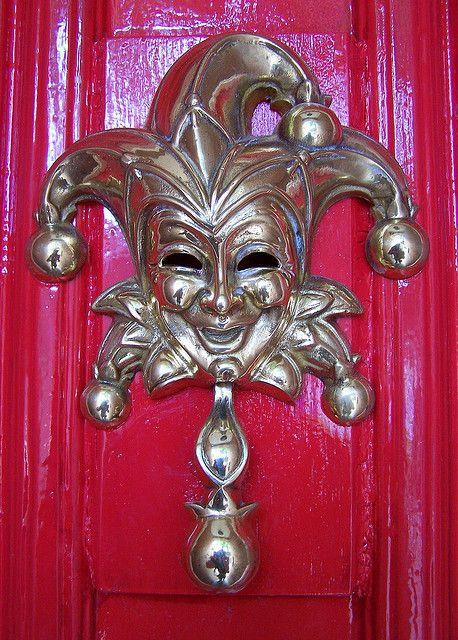 Jester Door Knocker in Black Iron Quirky Design