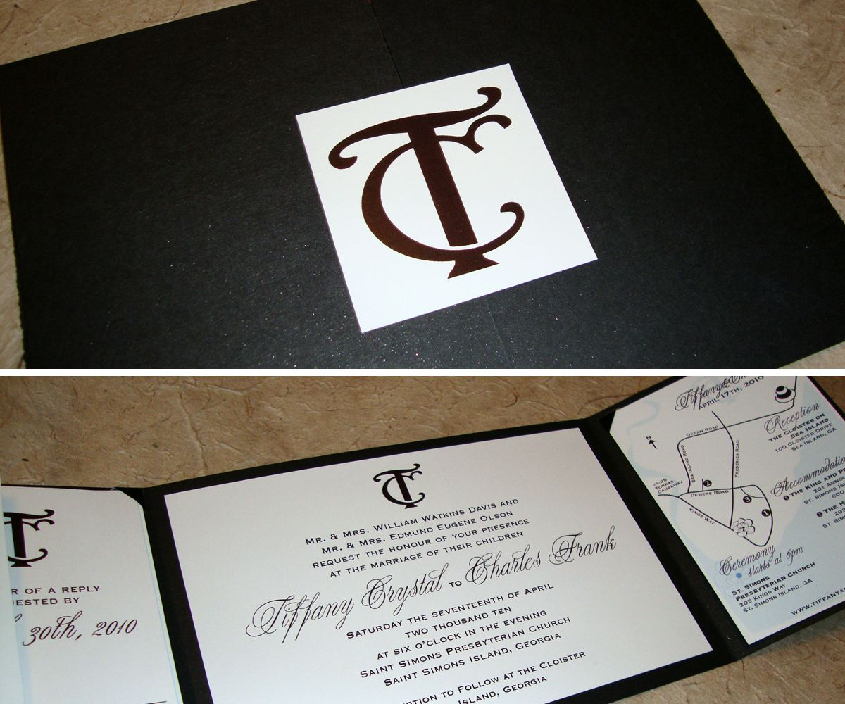 Ideas about map wedding invitation on pinterest - Black And White Wedding Invitation Nice Pockets For Map And Reply Card