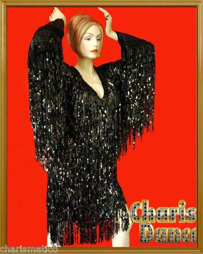 Details about black vegas diva transvestite spectacular fringe drag queen long sleeve dress - Diva pants ebay ...