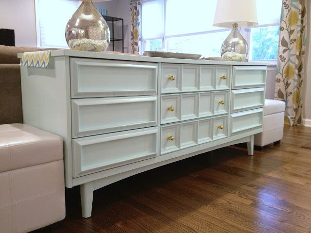 Mid-century dresser-turned-console painted white with new ...