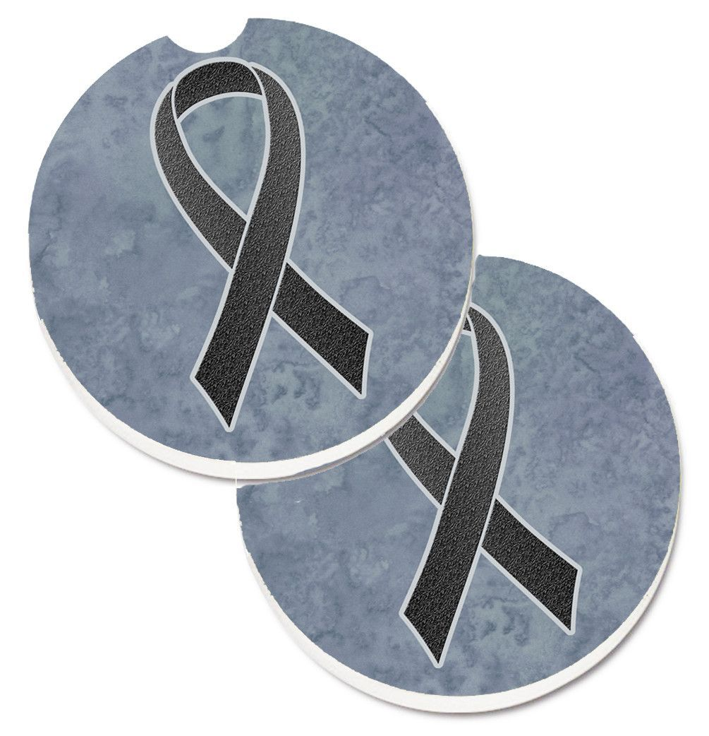 Black Ribbon for Melanoma Cancer Awareness Set of 2 Cup Holder Car Coasters AN1216CARC