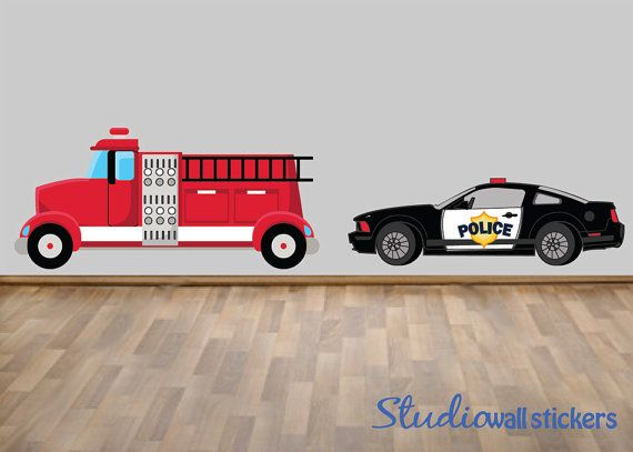 police car firetruck wall decal reusable wall decal