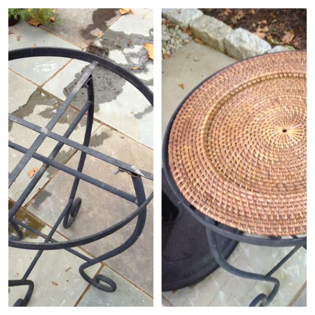 DIY Tip: Used Wicker Plate From World Market To Replace Broken Glass Top In  Patio