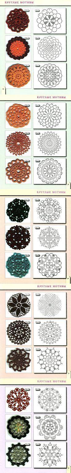 Мотивы крючком. Круг | Patrones de crochet, Ganchillo y Patrones