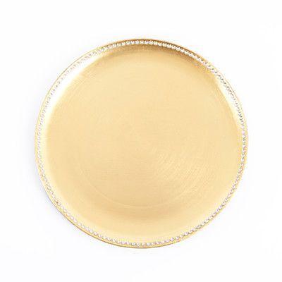 "Saro Orne 13"" Studded Design Charger Plate Color: Gold"