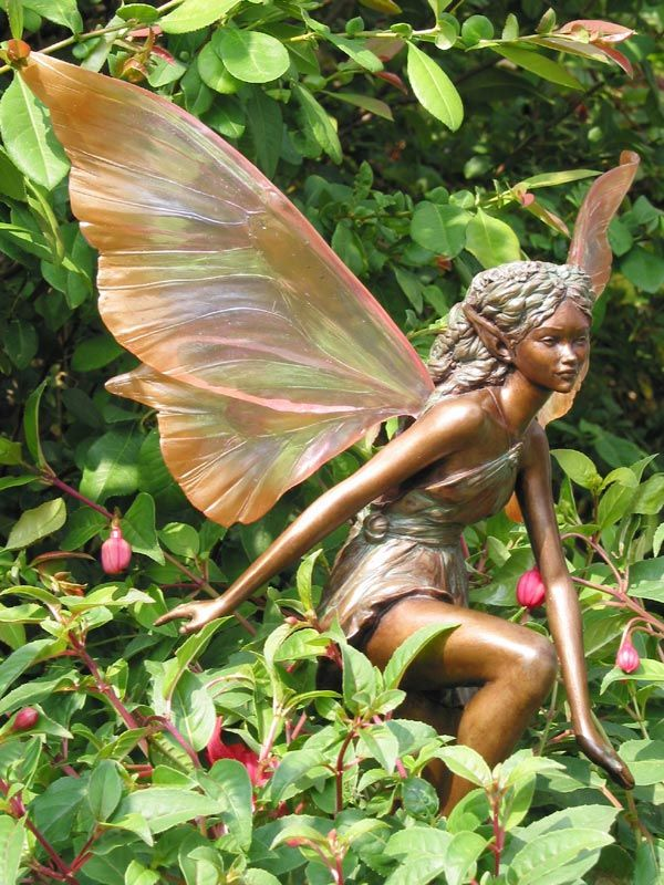 Gorgeous Colour To These Wings Imagine They Send Rainbows On The Floor When The Sun Shines Through Them Fairy Statues Fairy Garden Woodland Garden